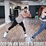 Put on some ankle bands if you have them. Step one leg out and put your foot at an angle before bringing it back in and squeezing your glutes in a squat.