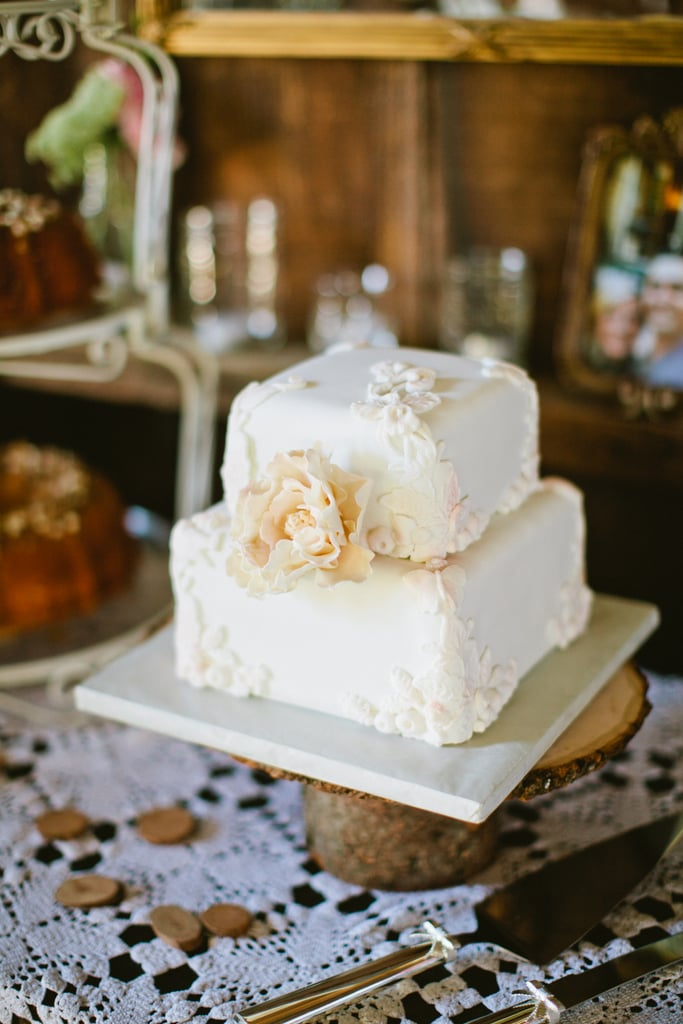 At only two layers high, this pretty, white, floral-covered cake makes a big impact.