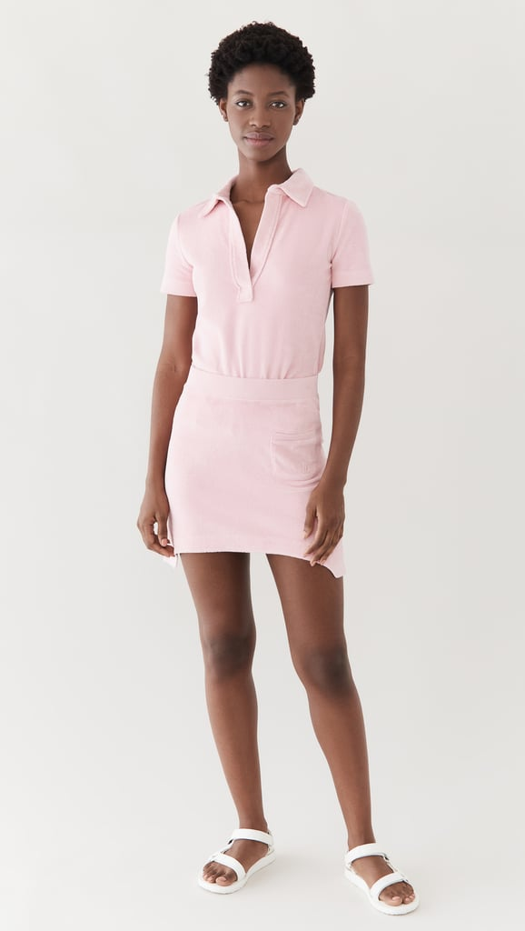 Pink and Preppy: Helmut Lang Towel Terry Polo Shirt and Skirt