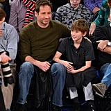 David Duchovny and his son, Kyd Miller Duchovny, sat courtside for the Knicks vs. Denver Nuggets game in December 2012.