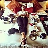 This pre-Met Gala photo of Karolina Kurkova had us in stitches — who wouldn't want to enjoy a facial mask while surrounded by shoes and bags? Source: Instagram user karolinakurkova