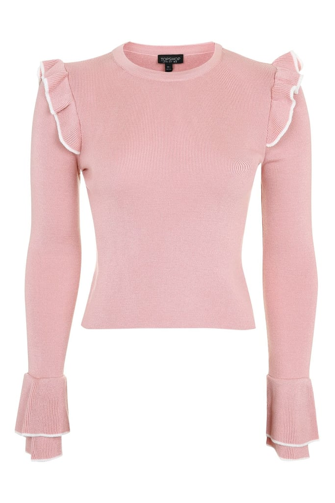 Topshop Tipped Frill Crop Knitted Top (£26)