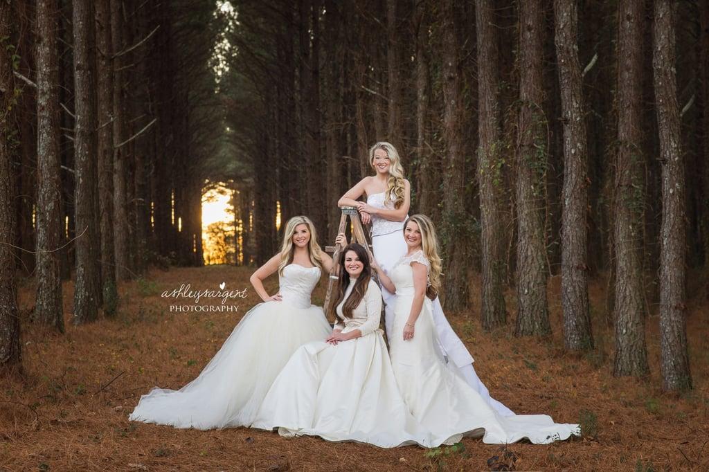 Sisters wear their old wedding dresses for photo popsugar moms junglespirit Gallery