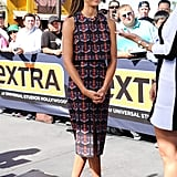 Jessica Alba's Tanya Taylor separates give the illusion of one piece, thanks to their coordinating print.