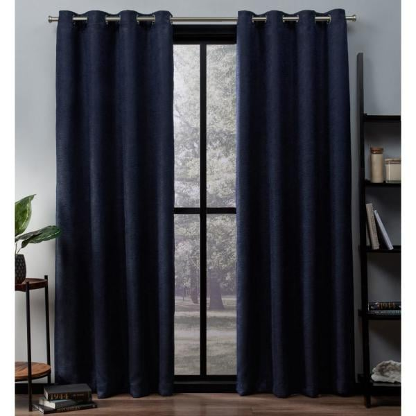 Oxford 52 in. W x 96 in. L Woven Blackout Grommet Top Curtain Panel in Navy (2