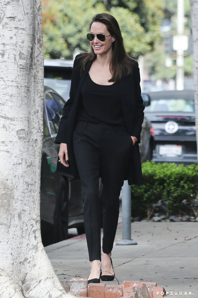 Angelina Jolie is a fashion icon, whether she's walking a red carpet or the streets of Beverly Hills. Her style can't be beat, especially when it comes to her eye-catching shoes, as she proved once again on May 12. Angelina took an early Mother's Day brunch with her son Pax, and we couldn't look away from her sleek monochrome ensemble. The 42-year-old actress paired her coat, scoopneck top, and high-waisted trousers with a pair of sunglasses and classy kitten heels. This pair of heels reminds us of her affordable Everlane favourites. Ahead, shop Angelina's Everlane pick and similar styles. You can never have too many pairs of kitten heels of this classic, everyday shoe style!