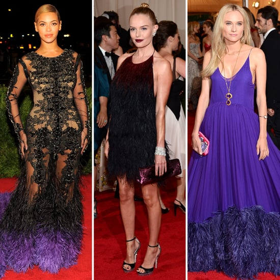 Feathers flew on the Met Gala red carpet.  From left to right: Beyoncé in Givenchy, Kate Bosworth in Prada, Diane Kruger in Prada.