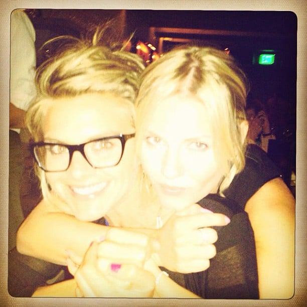 Eliza Coupe and Elisha Cuthbert hugged it out. Source: Instagram user elizamuthaf*ckincoupe