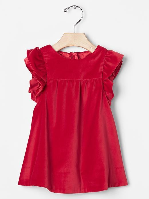 Gap Red Velvet Flutter Dress