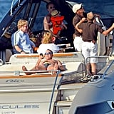 David Furnish, Elton John, Neil Patrick Harris, David Burtka, and the kids spent the day boating.