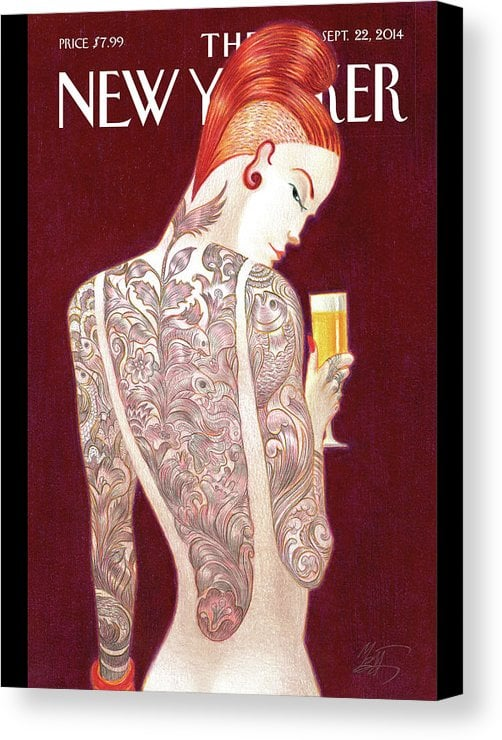 Canvas Of New Yorker Cover Of Woman Covered In Tattoos