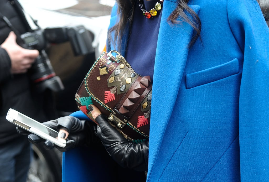 Her commitment to going bold and bright extended beyond just her outerwear.