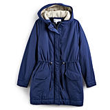 Sherpa-Hood Drawstring Parka in Blue