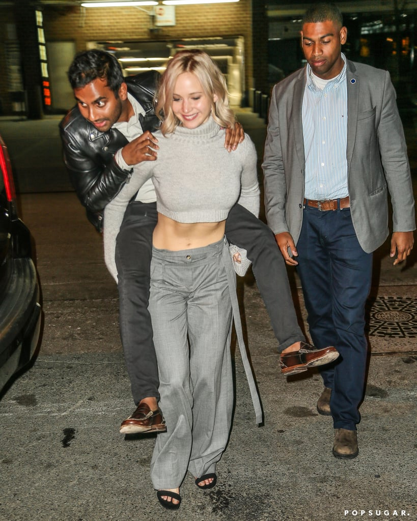 Jennifer Lawrence Gives Aziz Ansari a Piggyback Ride in NYC