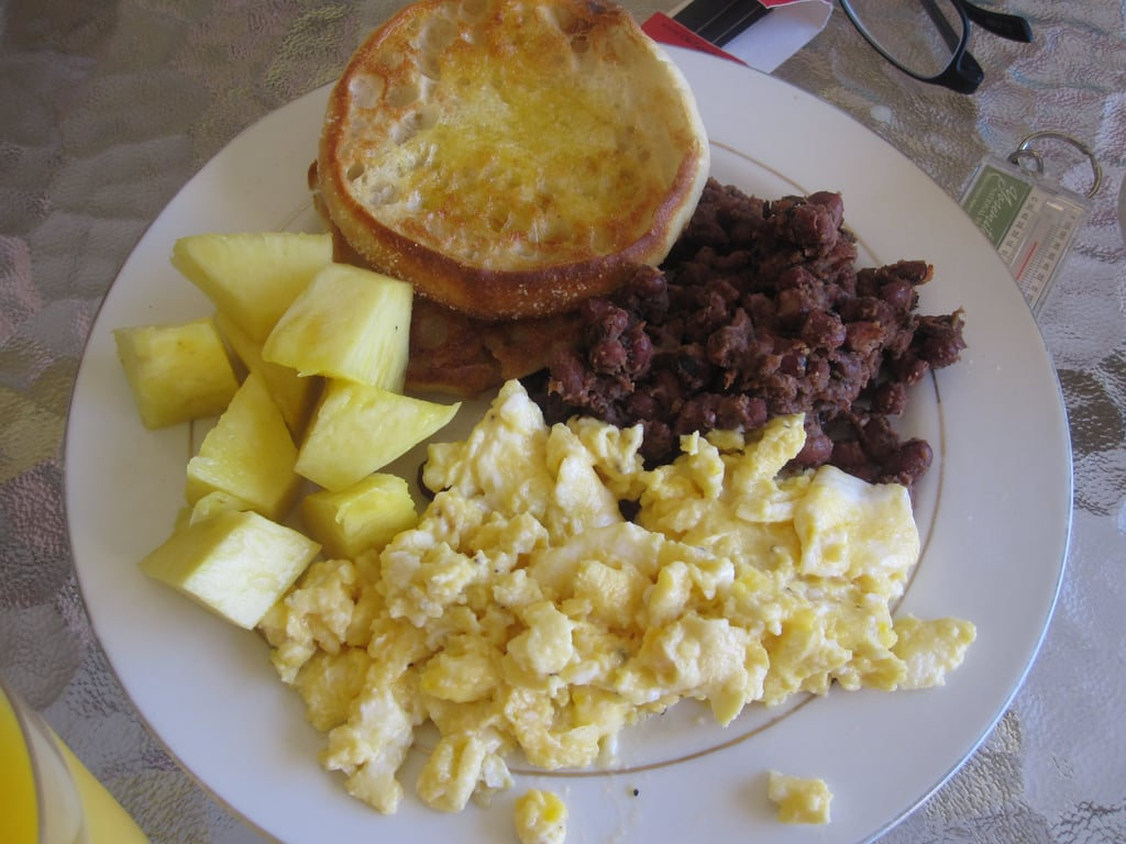 Refried Beans, Eggs, and Pineapple