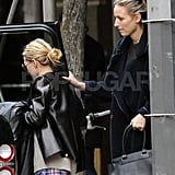 Ashley Olsen and friend Leelee Sobieski hopped into a car after shopping together in the West Village.