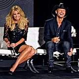 Faith Hill and Tim McGraw laughed during their performance announcement in Las Vegas.