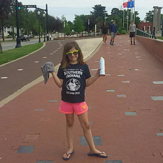 Little Girl Cleans Veterans' Memorial Before Memorial Day