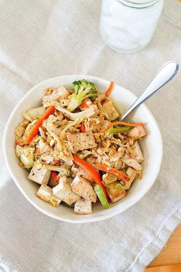 Tofu Veggie Cabbage Noodles