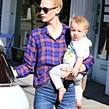 January Jones took her son, Xander, for an outing.