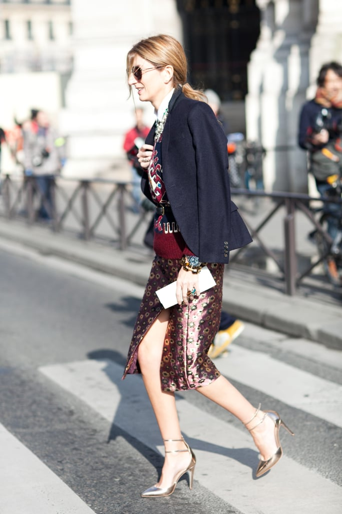 Sarah Ruston strikes again, this time with a high-impact print tempered with a staple blazer.