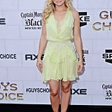 Kristen Bell celebrated with the men of the Spike TV Guys Choice Awards in a sunny yellow Jenny Packham dress.