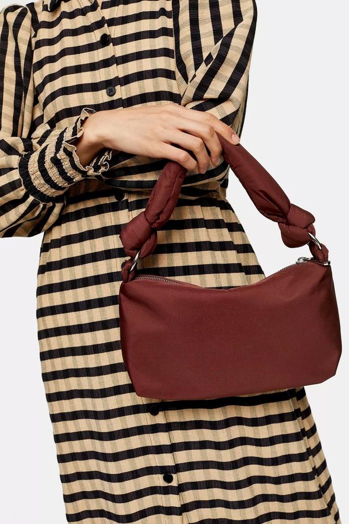 Topshop Burgundy Knot Nylon Shoulder Bag