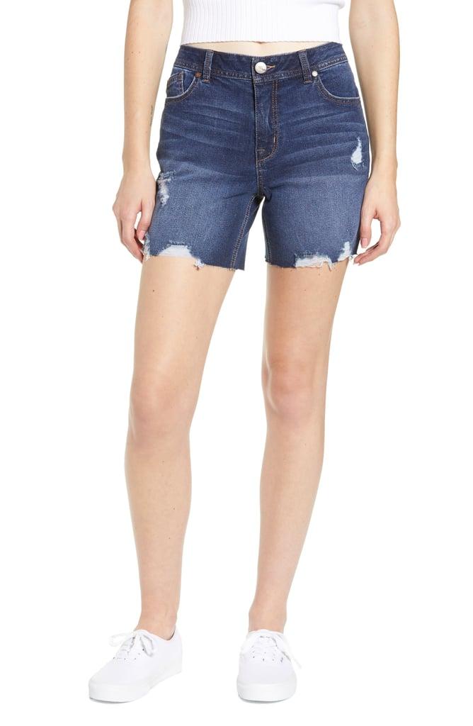 1822 Denim Distressed Longline Denim Shorts