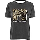 River Island Women's Grey Washed MTV Open Back T-Shirt