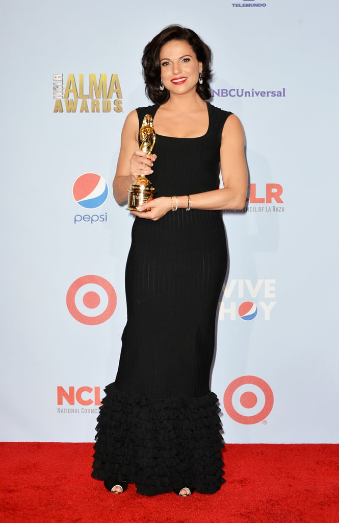 Lana Parrilla accepted an award at the ALMA Awards in LA.