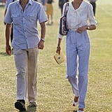 Attending a polo match, Diana paired her signature frames with a relaxed blouse and high-waisted trousers.
