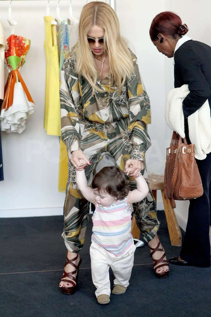 Rachel Zoe wore a patterned jumpsuit to shop in West Hollywood with son Skyler.