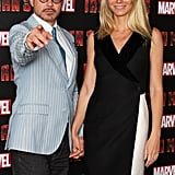 As Gwyneth Paltrow posed with her Iron Man 3 costar Robert Downey Jr. at the London photocall, our eye was immediately drawn to the double-breasted tuxedo lapels and crisp two-toned colorblocking.