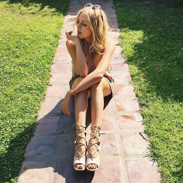 While Shea Marie chose a flat gladiator style, your strappy sandals can go as high as you'd like.