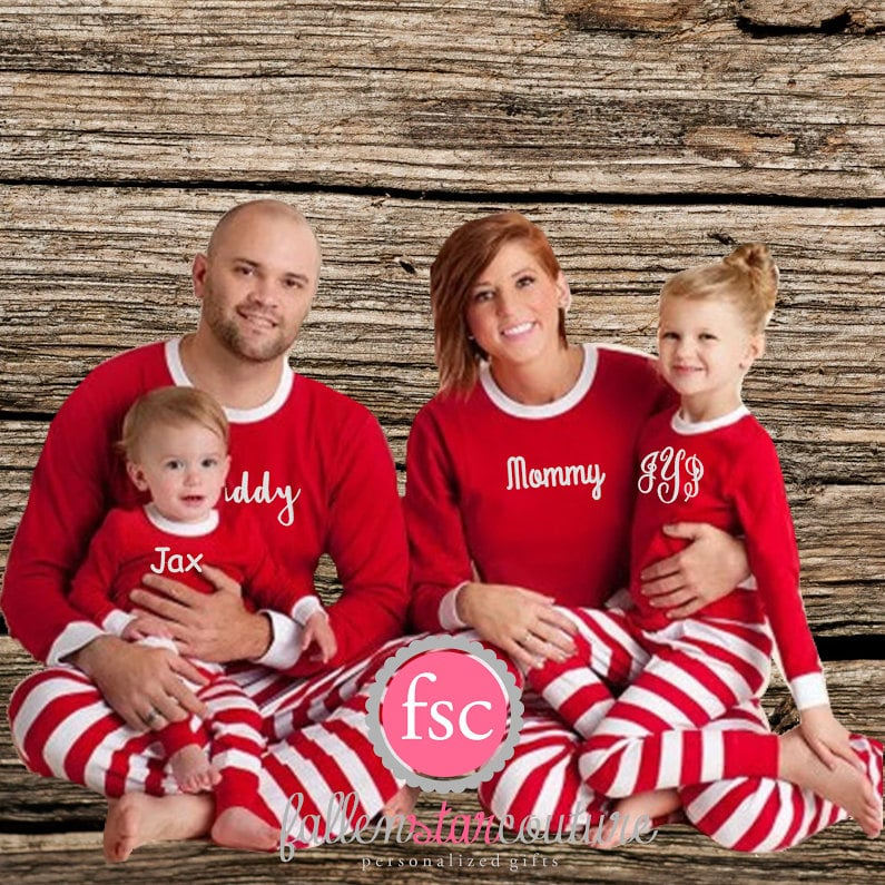 personalized red matching family christmas pajamas - Family Pajamas Christmas