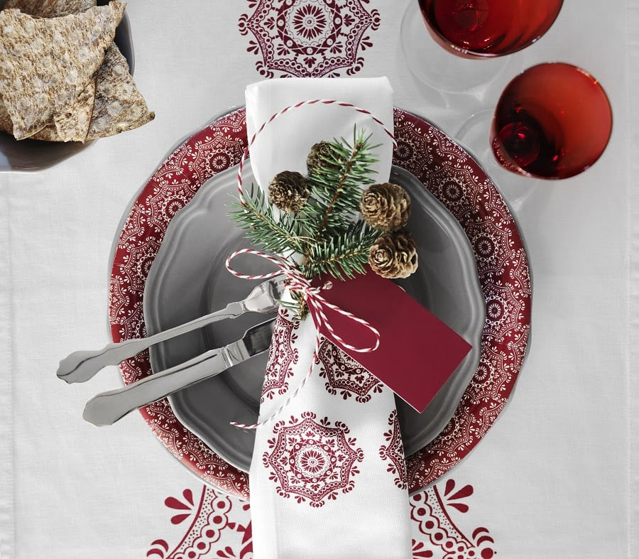 These gorgeously printed table linens work well for Winter but could also be used year-round. Set your table for $7 to $19.
