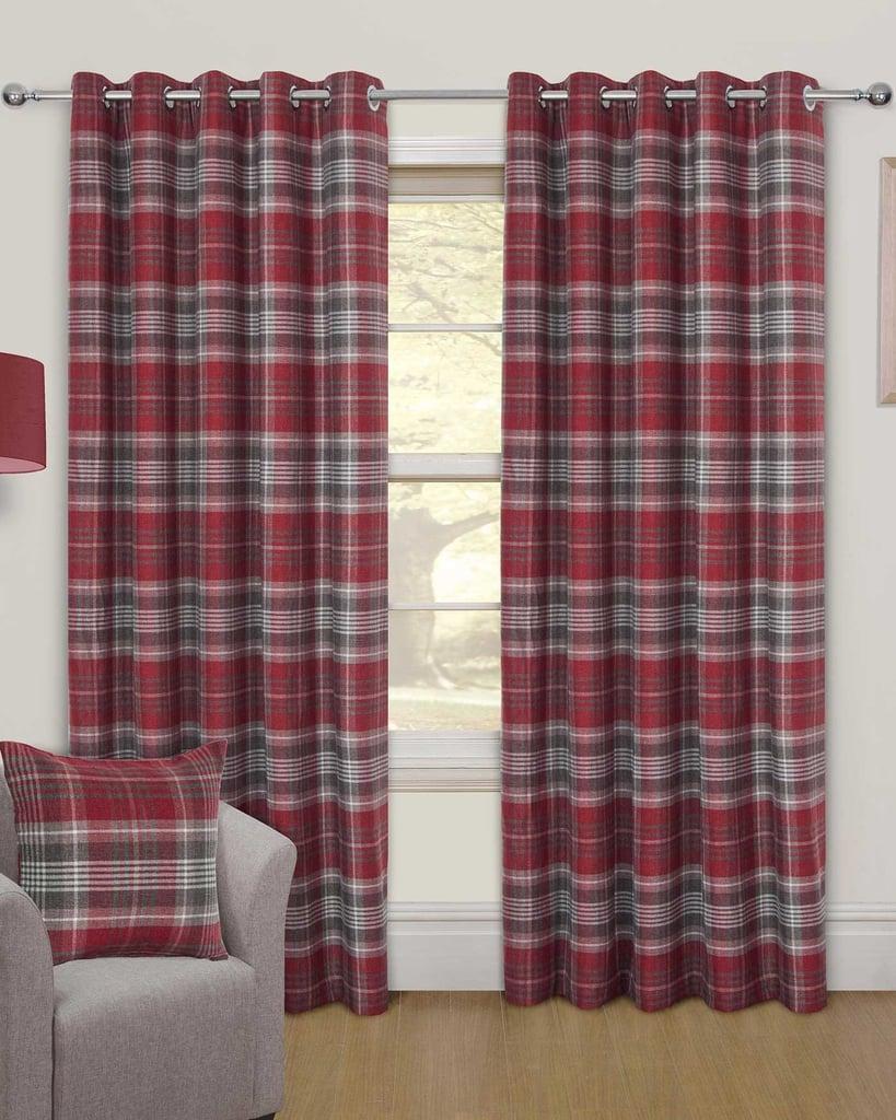 Red Tartan Interlined Thermal Eyelet Curtain Pair