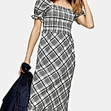 Topshop Sheer Check Midi Dress