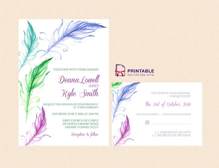 Target Wedding Invitations Kits: Feather Wedding Invitation