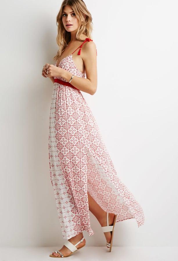 FOREVER 21 Floral Side-Slit Maxi Dress