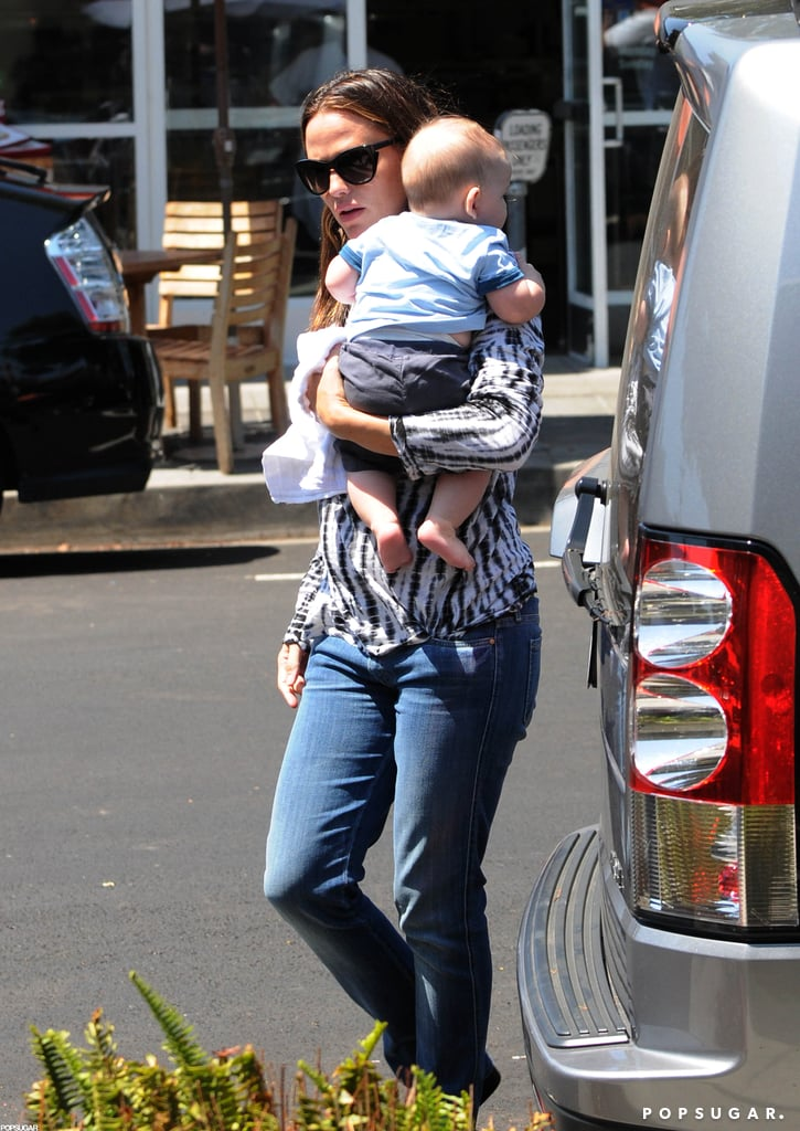 Jennifer Garner carried baby Samuel Affleck into the ice cream shop.