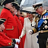 Prince Charles and Camilla spoke with a pensioner ahead of the pageant.