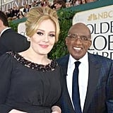 Al Roker posed on the Golden Globes red carpet with Adele. Source: Twitter user alroker