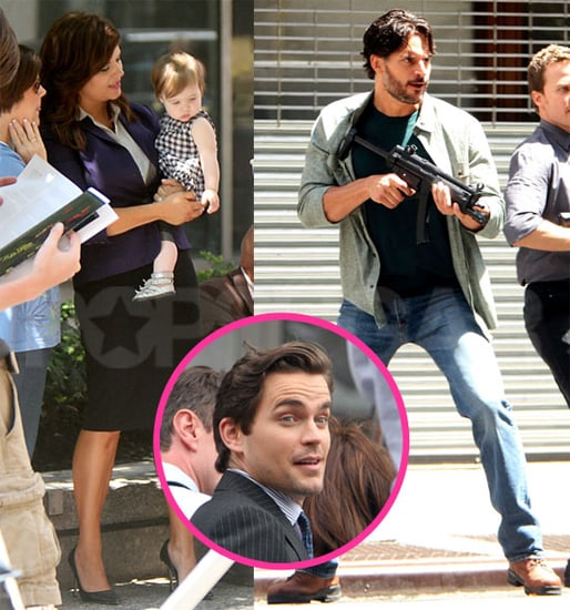 Matt Bomer, Joe Manganiello, & Tiffani Thiessen Filming White Collar Pictures
