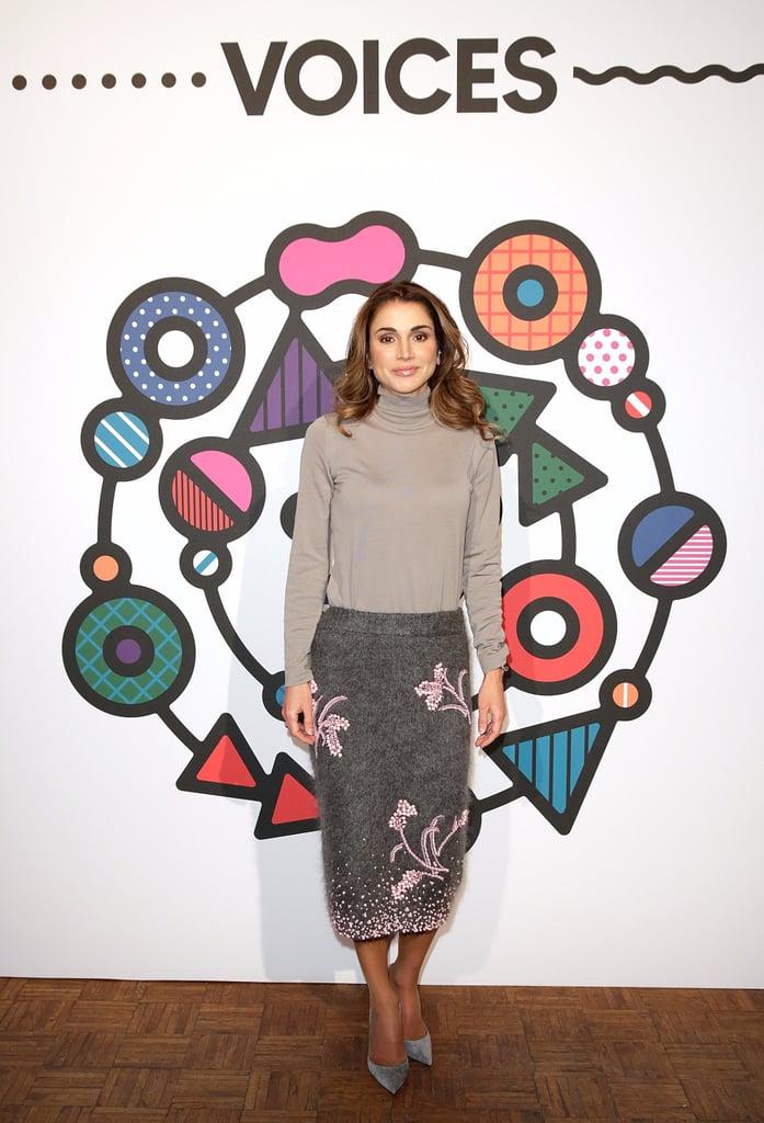 Queen Rania Gray and Pink Prada Skirt