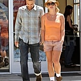 Brit and a slick-haired Jason were happy to shop together in LA in July 2010.
