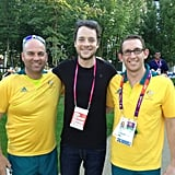 Hamish Blake met two of our Aussie Olympians in London. Source: Twitter user hamishandandy