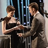 Justin handed Anne Hathaway her trophy for best supporting actress at the SAG Awards in January.