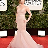 Amy Adams chose a strapless, nude Marchesa gown.