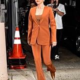 Selena Gomez Wearing a Gauge81 Burnt Orange Suit